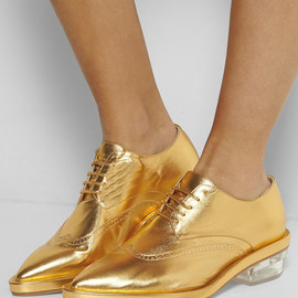SIMONE ROCHA - Metallic textured-leather brogues