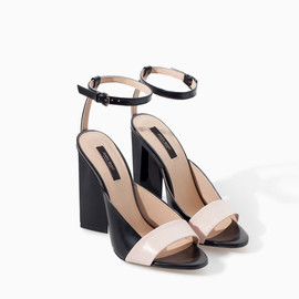 ZARA - Leather High Heel Geometric Pattern Sandal