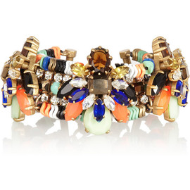 J.CREW - Honeybee gold-plated, crystal and Czech stone bracelet
