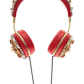 DOLCE&GABBANA - FW2015 Red Embroidered Nappa Leather Headphones