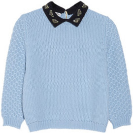 miu miu - Jewel-collared chunky-knit wool sweater