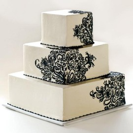 cake a fare - Square wedding cake with black henna decoration