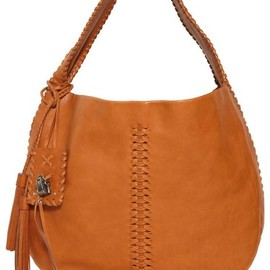 RALPH LAUREN - TASSELS BRUSHED LEATHER HOBO BAG