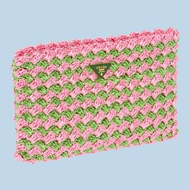 PRADA - Prada, Crocheted Raffia Clutch in Grass Green and Pink