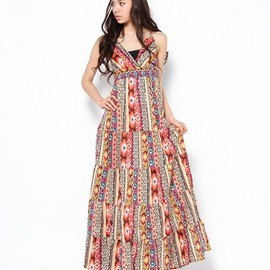 ROSE BUD - (ATOLL PALME)40209 ROBE V-LONG ETHNIC DRESS