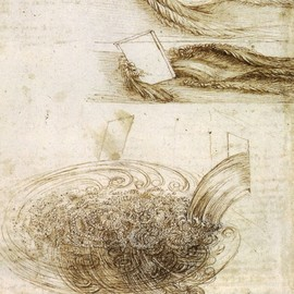 da Vinci - da Vinci;  Studies of Water passing Obstacles and falling, c. 1508-9