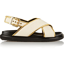 MARNI - Canvas and metallic leather sandals