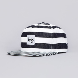 Less - SQUARE LOGO WORK HAT NAVY / WHITE STRIPE