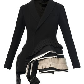 BOTTEGA VENETA - Bi-colour pleated crepe jacket