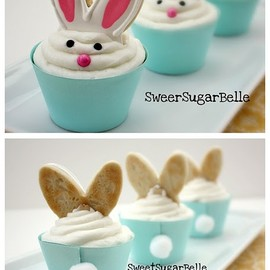 gastrogirl:  bunny ear cupcake toppers.