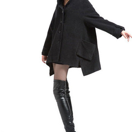 wool coat - Women Winter Wool Coat large size wool coat in Black