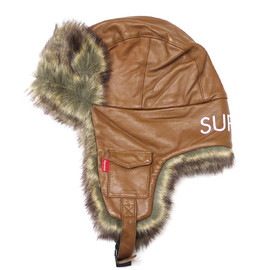Supreme - Supreme LeatherTrooperHat/BROWN