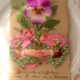 antique - french pansy celluloid chromos card