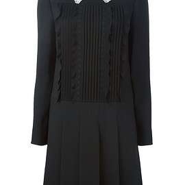VALENTINO - Pre-Fall 2015 Black virgin wool-cotton blend and silk pleated mini dress