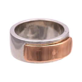 MARC JACOBS - Marc by Marc Jacobs New Plaque Modern Ring, Silver/Rose Gold (17.5mm/US-7)