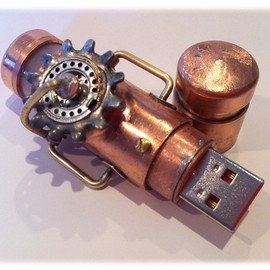 Steampunk 16GB USB Flash Drive Model 361 in a Tin Box
