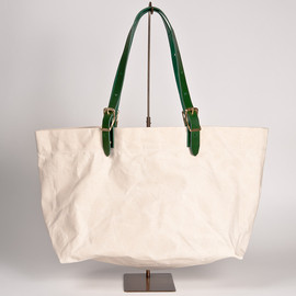 WORKERS - Tote Bag, Leather Handle, Ecru