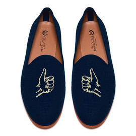 "Five Story NYC x Del Toro - ""Thumbs Up"" Navy Linen Slipper"