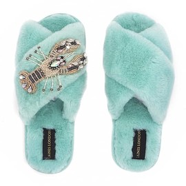 Laines London - Fluffy Slippers White Crystal Lobster Brooch - Ice Blue