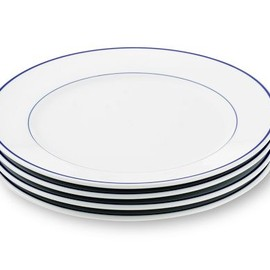 Apilco - Tradition Blue-Banded Dinner Plates, Set of 4