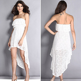 Sexy Strapless Irregular Hem Gathered Waist Lace Dress