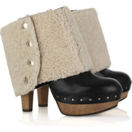 MARNI - Shearling-cuff leather clogs