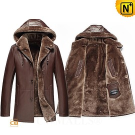CWMALLS - CWMALLS® Columbus Shearling Leather Parka Coat Brown CW807800[Patented Product, Valentines Day Gift]