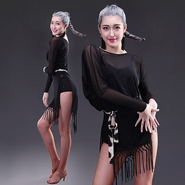 Black see though mesh fabric long fringes dress