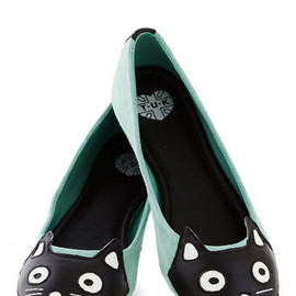 ModCloth - Up Your Alley Cat Flat in Mint