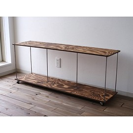 "wood iron shelf ""long lowboard wide"""