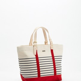 united bamboo - LE BAC ボーダーキャンバスバッグ レッド