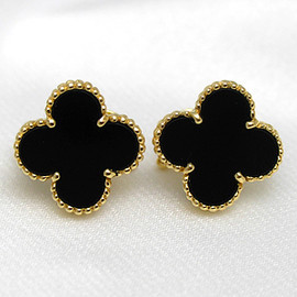 Van Cleef & Arpels - Al Kahn bra vintage onyx EAR pierced earrings