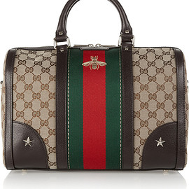GUCCI - FW2015 Vintage Web medium textured leather-trimmed canvas tote