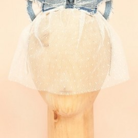 Maison Michel - Denim and Lace Cat Headpiece
