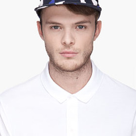 NEIL BARRETT - Navy blue Engineered Club Bleached Stripe Cap
