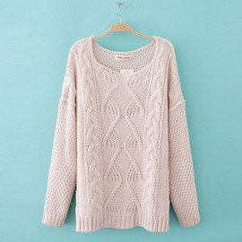 fashion - [grxjy560636]Casual Loose Vintage Patterns Hollow Out Crewneck Sweater Pullover
