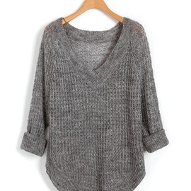 chicnova - Gray V Neckline Knitwear with Cut Out Design and Curved Hem