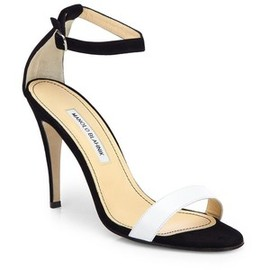 Manolo Blahnik - Manolo Blahnik / Chaos Bicolor Leather & Suede Ankle-Strap Sandals