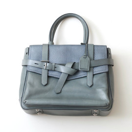 Bridle two-tone leather tote