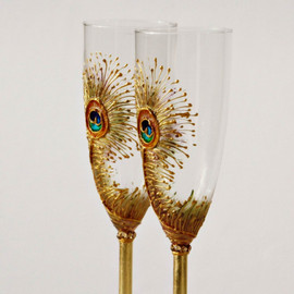 NevenaArtGlass - Goldy Peacock Feathers Wedding Toasting Champagne Flutes