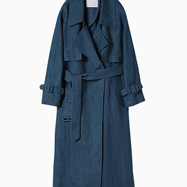 mame - Linen Trench Coat - blue