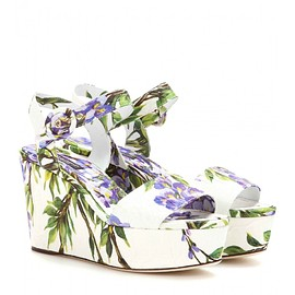 DOLCE&GABBANA - Bianca brocade wedge sandals
