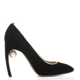 Faux-pearl and stud point-toe suede flats