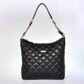 kate spade NEW YORK - Kate Spade Gold Coast Shimmer Medium Serena Quilted Shoulder Bags Black - katespadeoutletbags.com