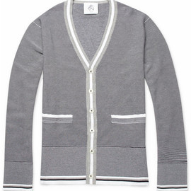Black Fleece by Thom Browne - Striped Knitted Cotton Cardigan