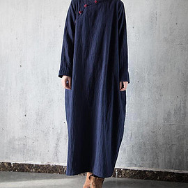Plus velvet dress - Loose dark blue long dress cotton and linen Plus velvet dress Winter warm robe