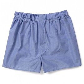 Turnbull & Asser - BLUE END-ON-END COTTON BOXER SHORTS
