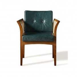 Soho Home - Soho Home x Anthropologie Willow Dining Chair, Green Leather