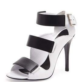 Alexander McQueen - SS2014 Triple Band Leather Sandal, Black/Ivory