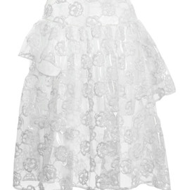 SIMONE ROCHA - White Embroidered Plastic Three Bite Skirt